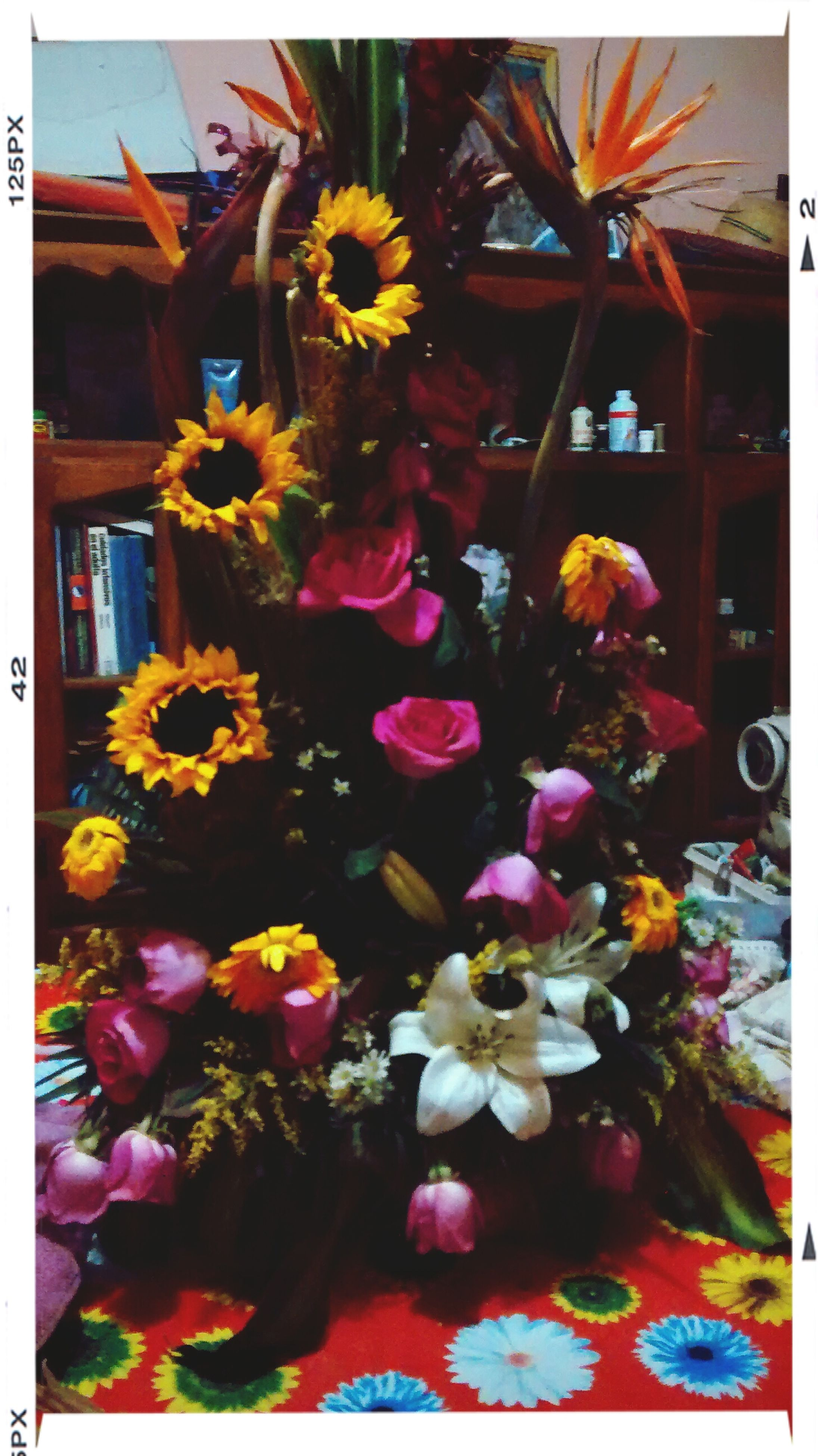 transfer print, flower, auto post production filter, freshness, fragility, multi colored, petal, flower head, decoration, indoors, close-up, plant, potted plant, growth, variation, yellow, no people, vase, built structure, nature