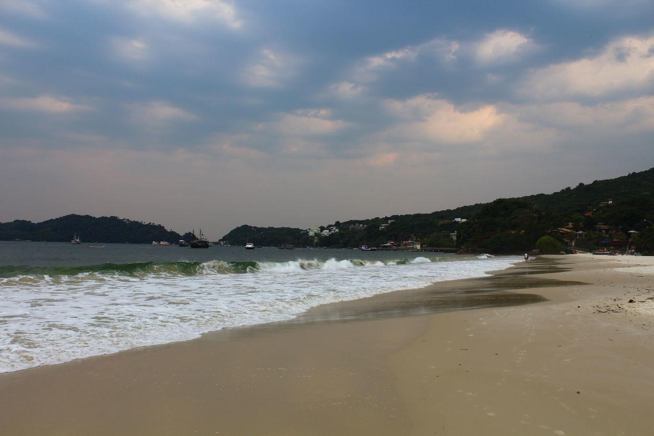 Almost Night Bombinhas Brazil Breach Cloudy Beach Santa Catarina Sea Waves Sunset
