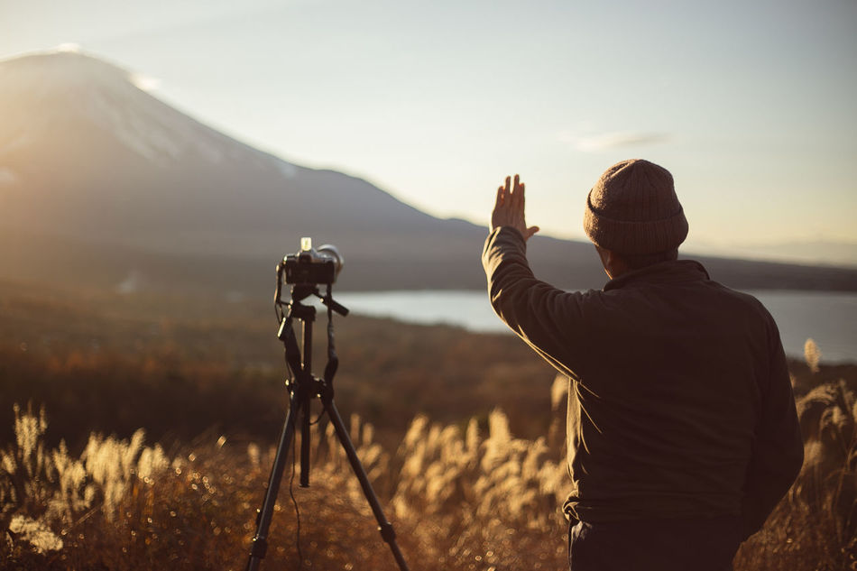 Beauty In Nature Camera Field Fuji Japan Landscape Lifestyles Long Goodbye Men Mountain Mountain Range Mtfuji Nature Outdoors People Photographer Photographing Real People Scenics Standing Sunset TCPM