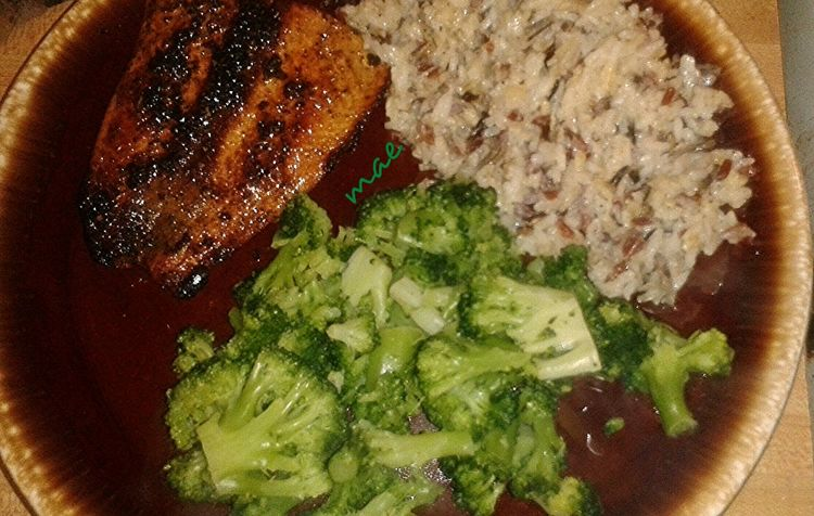 The delicious dinner my husband and I cooked last night....Blackened Salmon, Wild Rice, Steamed Broccoli Dinner Out Of My Cauldron SZeaglesoul Food Foodpics Foodporn Streamzoofamily Friends