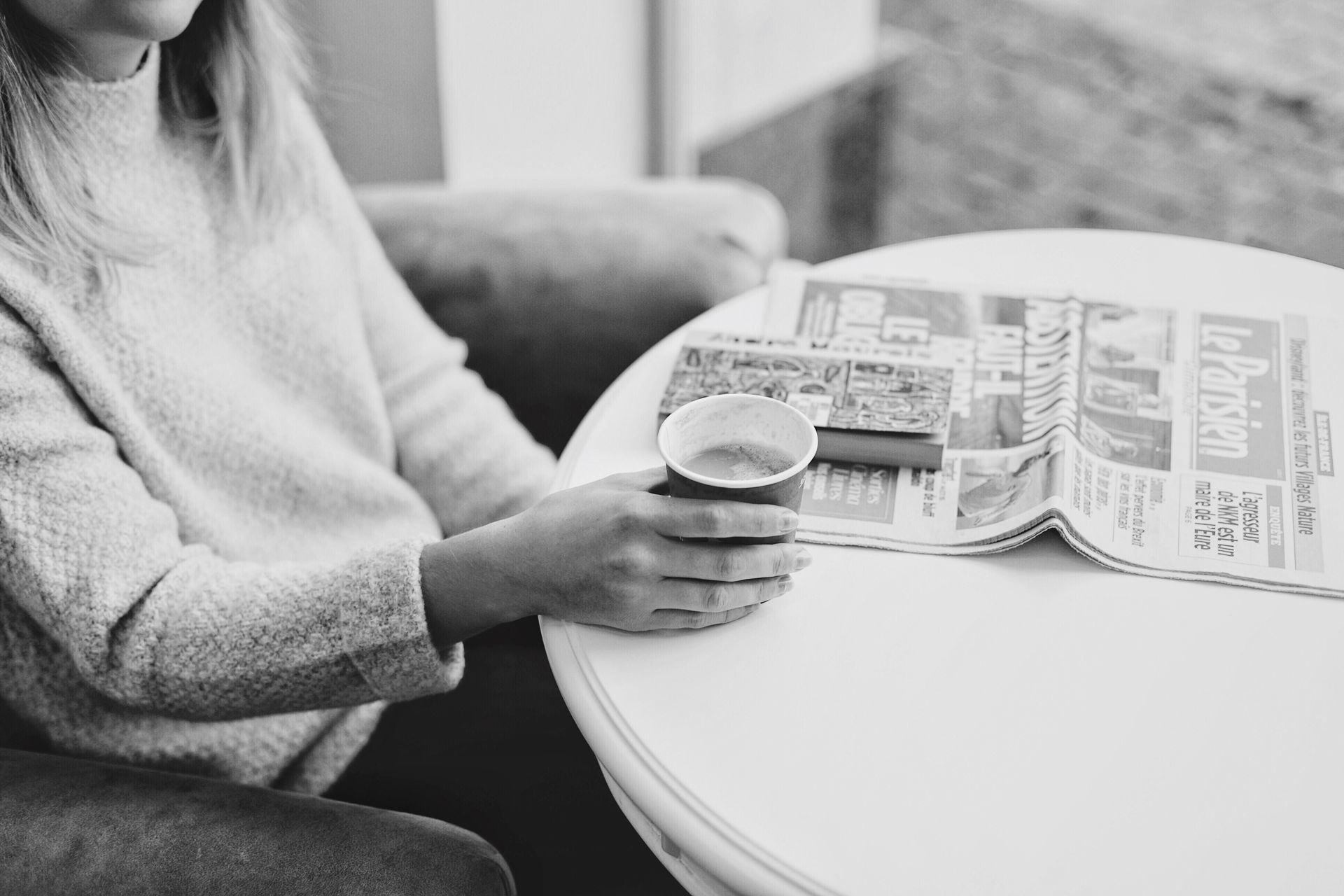 coffee break coffee cup Coffee Black & White black and white black and white blackandwhite EyeEm Selects one person real people indoors midsection Sitting holding casual clothing leisure activity women human hand lifestyles people day close-up focus on foreground young adult