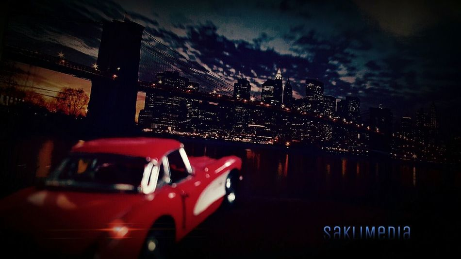 Car Red Car American Cars New York Golden Gate Bridge Bridgelife Nightlights Black Sky Lights Saklimedia