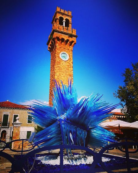 Blue Clock No People Clock Tower Time Outdoors Day Architecture Sky Murano Glass Figures Murano Italia Murano & Burano Murano, Venice Murano Island Murano Glass