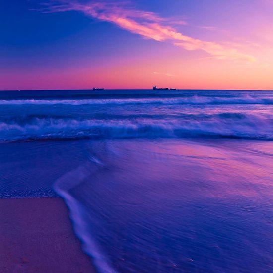 Mediterranean  Sea Ocean Beach Sunset Ship Waves SPAIN Tarragona Europe Summer