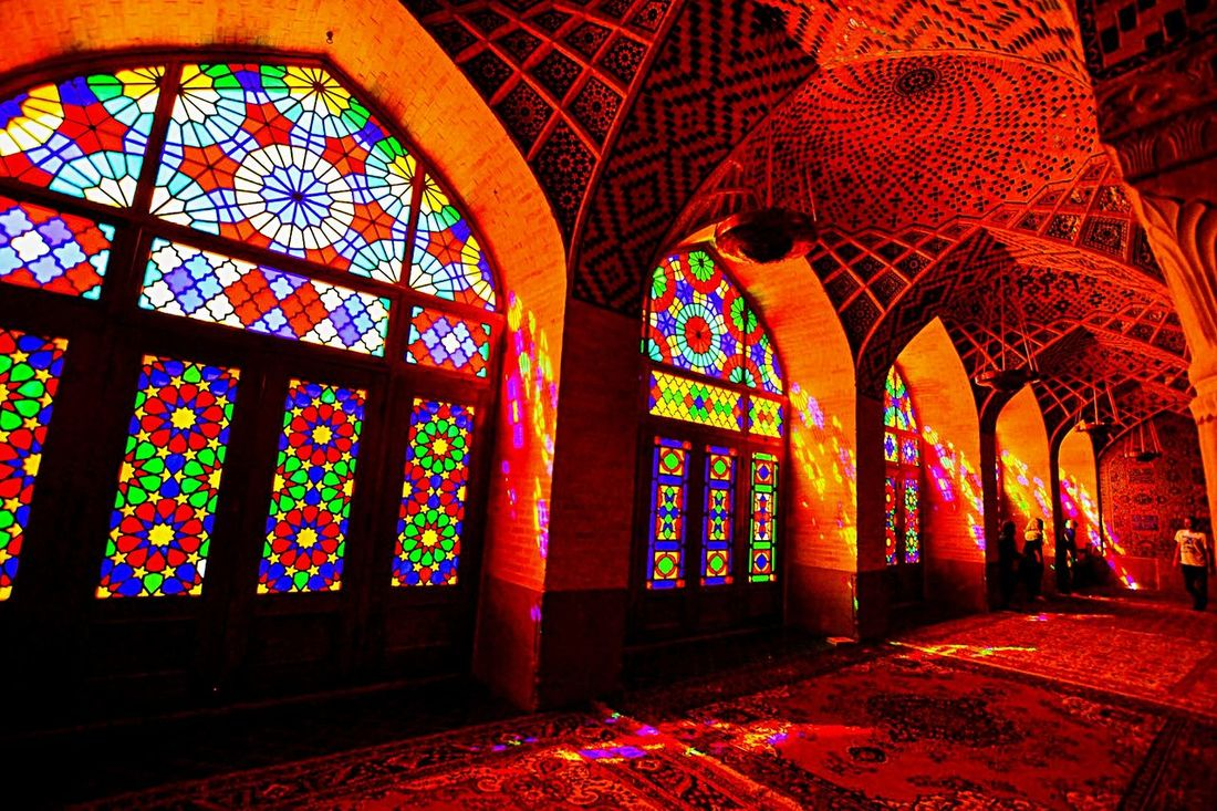 Mashed-e Nasir-al-Molk /Shiraz, Iran | One of the most elegant and photographed mosques in southern Iran. Iran Shiraz, Iran Shīrāz Irantravel Traveling In Shiraz Traveling Mosque Masjed  Rosemosque Staindglass First Eyeem Photo
