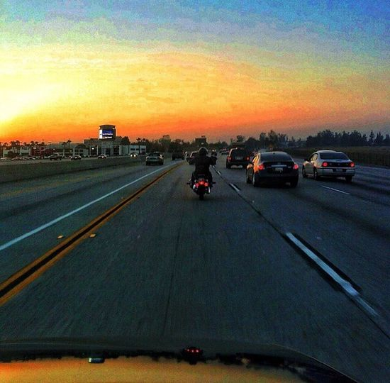 Motorcycle on the freeway from Fontana to Los Angeles First Eyeem Photo