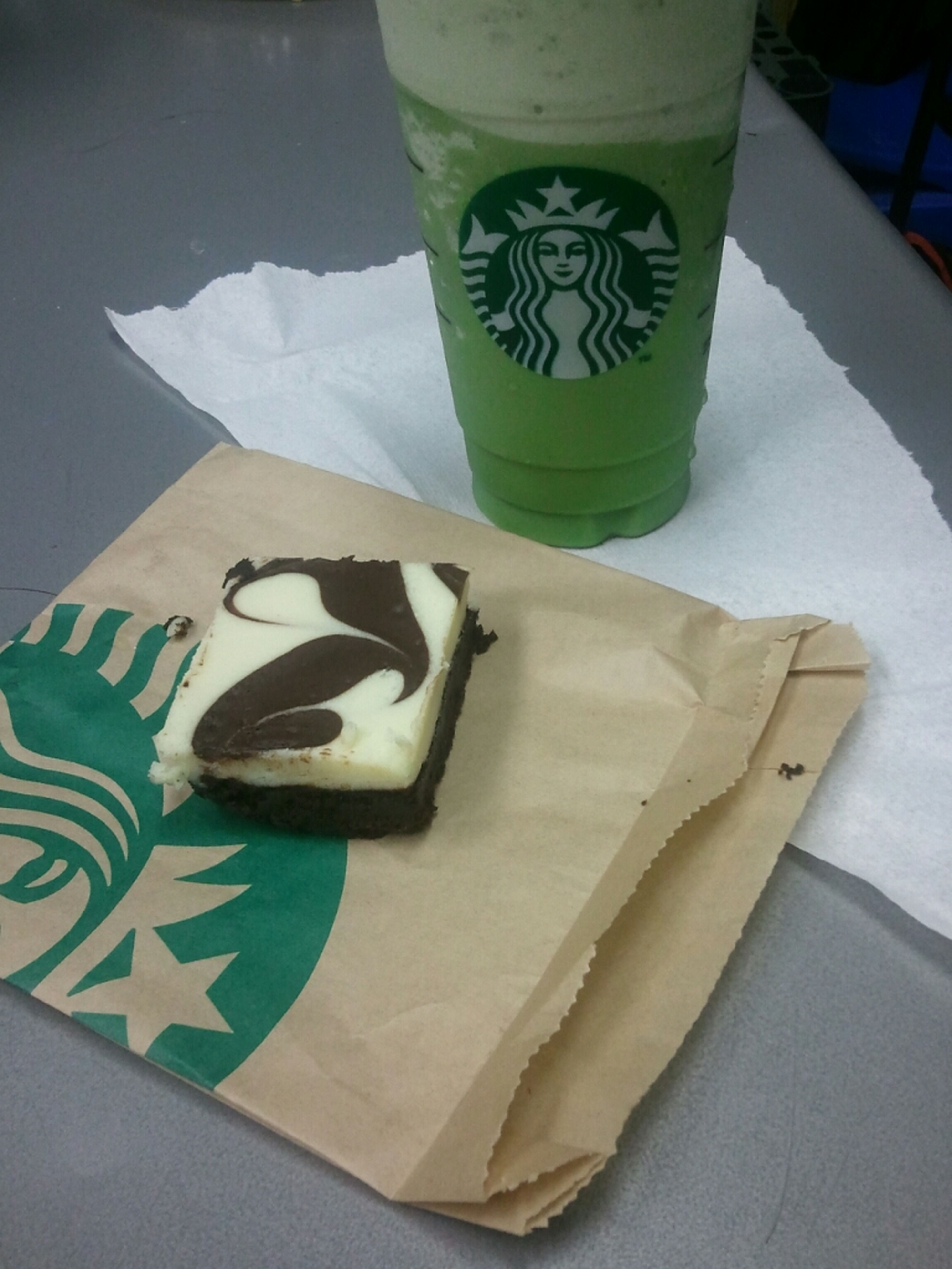 Cream Cheese Brownie N Green Tea Frap With Coconut Syrup!!!