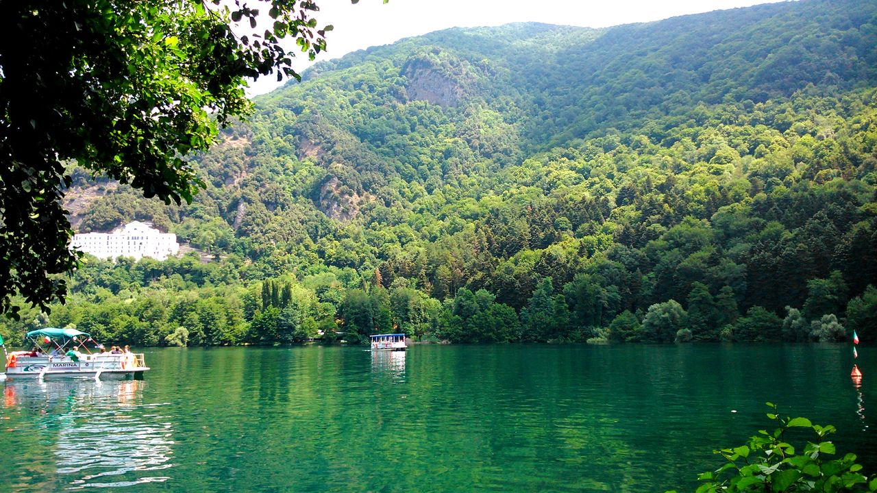 tree, beauty in nature, nature, water, tranquility, nautical vessel, scenics, tranquil scene, lake, mountain, green color, outdoors, lush foliage, day, growth, transportation, mode of transport, real people, sky