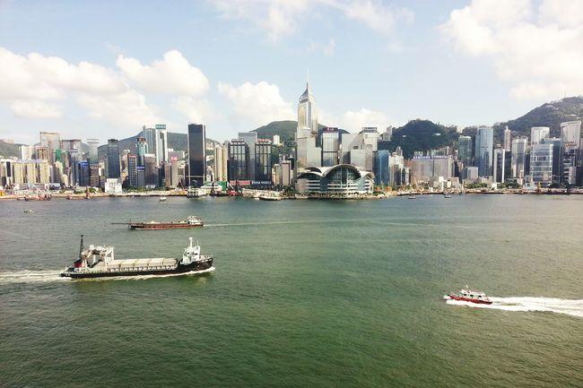 Hong Kong is magical HongKong Traveling Seaside Sea And Sky Sea View Ships⚓️⛵️🚢 Checking In
