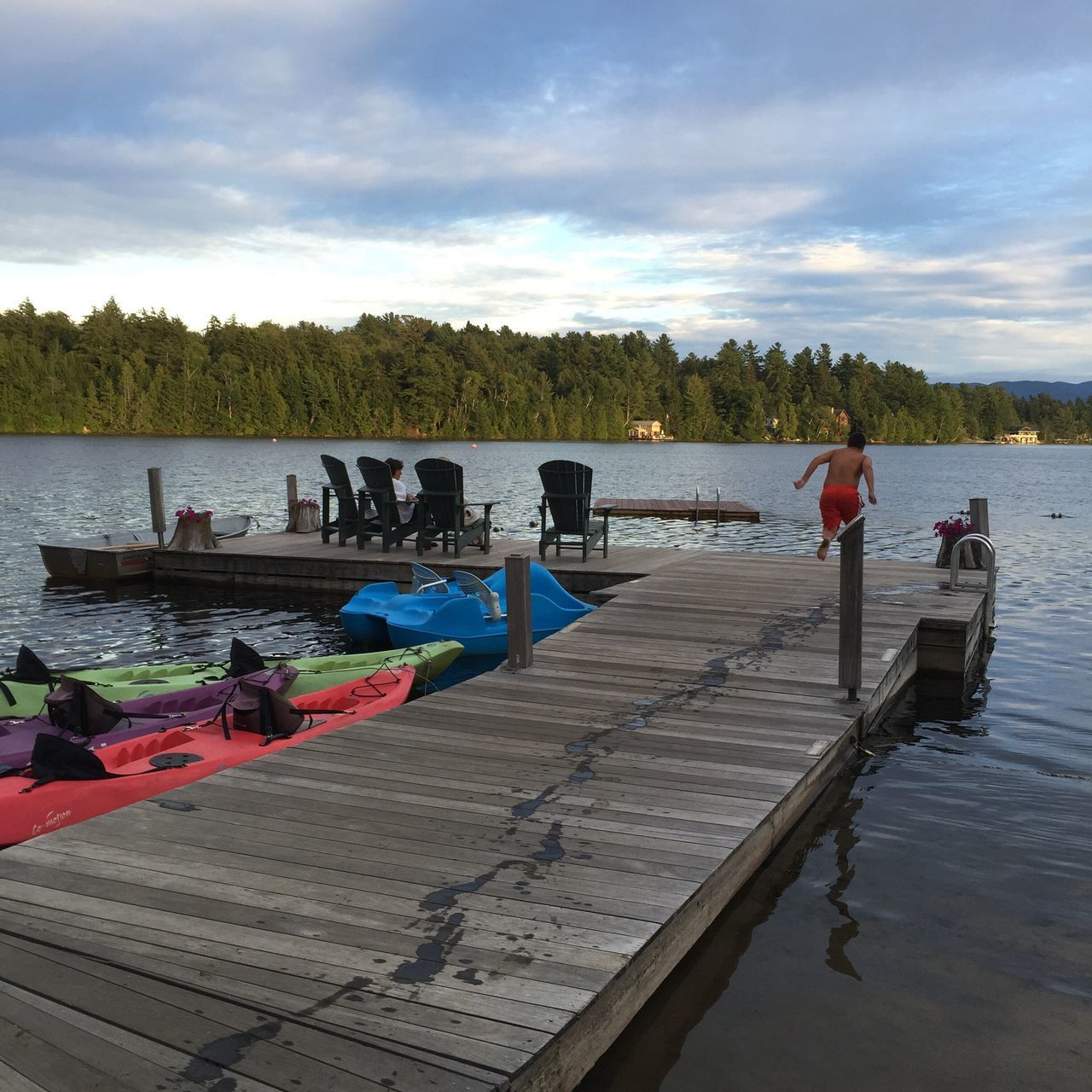 Dock Lake Placid Mirror Lake Water Swimming Mountain View Sky Men Real People Tranquil Scene Nature Tranquility Cloud - Sky Beauty In Nature Outdoors Scenics Large Group Of People Sea Day Women Leisure Activity Adult