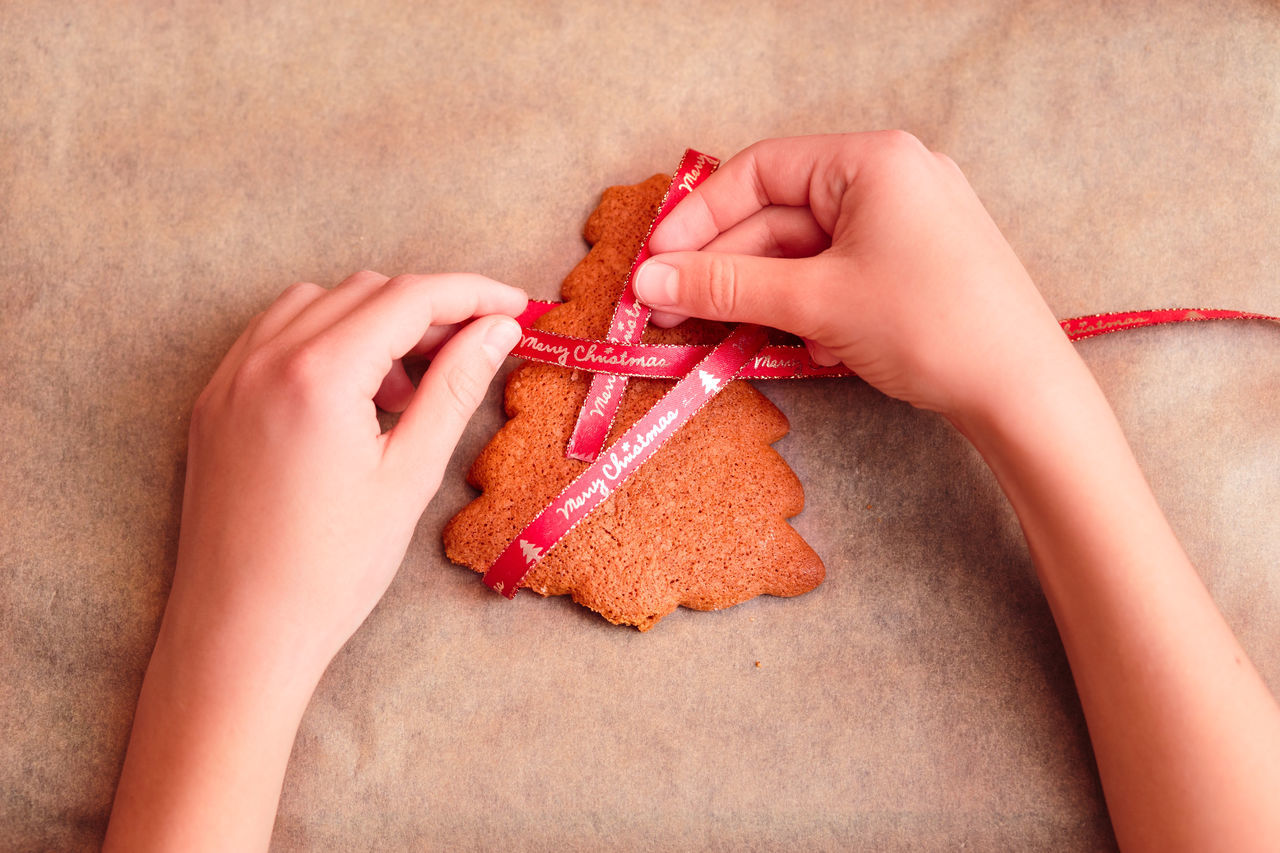 Female hands tying baked Christmas gingerbread cookies with ribbon Baked Baking Biscuits Celebrating Celebration Christmas Cookie Cookies Decorated Family Food Frosting Gingerbread Girls Holiday Home Homemade Icing People Preparation  Preparing Sugar Sweet Tradition Traditional