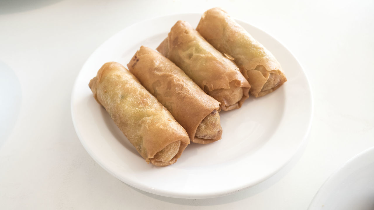 Close-up Day Food Food And Drink Freshness Indoors  No People Plate Ready-to-eat Serving Size Spring Roll Springrolls White Background