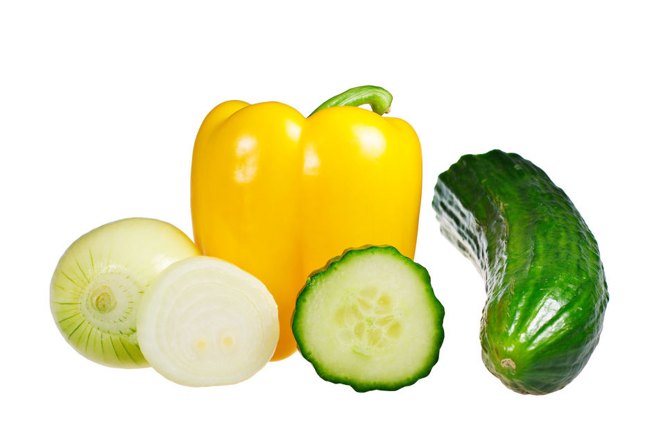 Some vegetables isolated. Bell Pepper Close-up Cucumber Day Food Food And Drink Freshness Green Bell Pepper Green Color Healthy Eating Indoors  Isolated White Background No People Onion Red Bell Pepper Still Life Studio Shot Vegetable White Background Yellow Yellow Bell Pepper