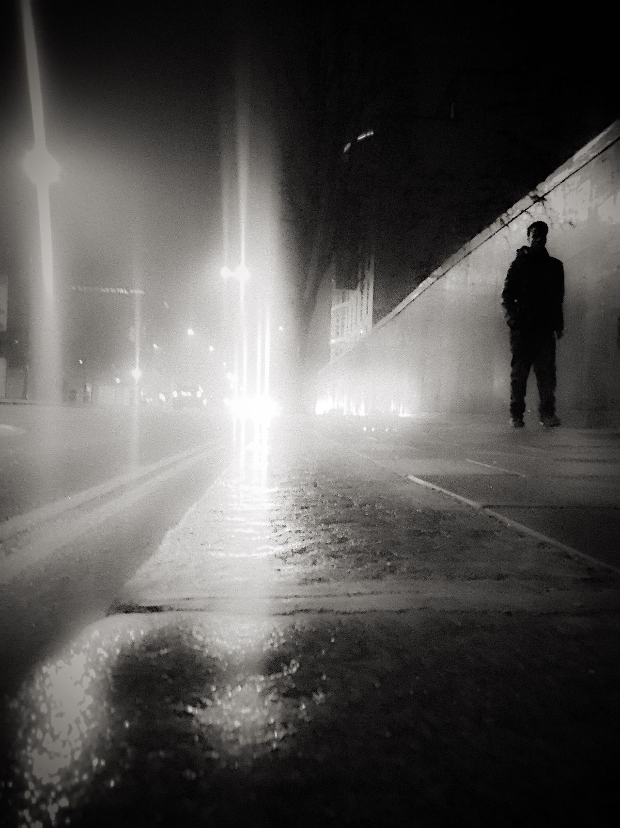 Illuminated Night Transportation Full Length One Person Real People Men Indoors  One Man Only Street Photography EyeEm Best Shots Black And White Fresh On Eyeem  The Week Of Eyeem EyeEm Best Shots - Black + White Streetphotography Silhouette Low Angle View