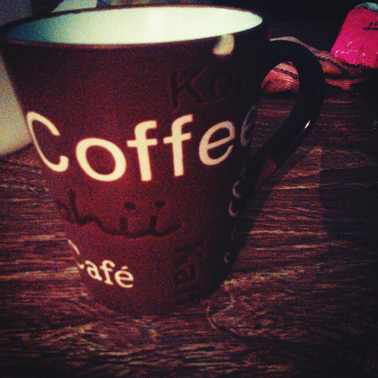 text, western script, coffee cup, coffee - drink, communication, drink, food and drink, close-up, indoors, no people, day, freshness