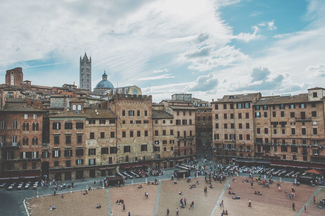 Siena Mideval Piazza Del Campo. Siena A Bird's Eye View City Travel Tourism Sightseeing From Above  Architecture Old Buildings Italy Small People Square Traveling Travel Destinations Holiday Vacation Piazza Del Campo People And Places Battle Of The Cities
