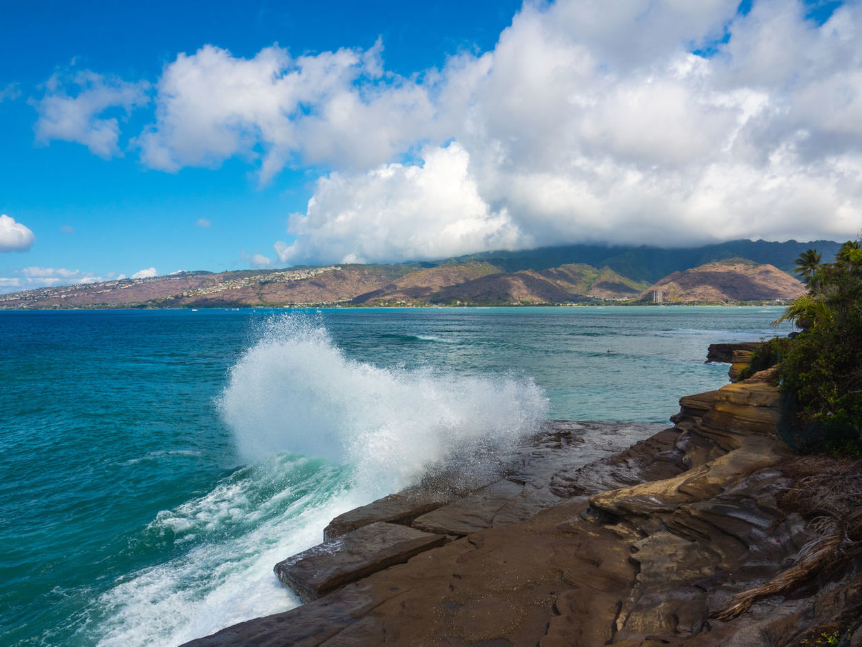 China Walls Hawaii Oahu, Hawaii Beauty In Nature Big Surf Cloud - Sky Day Motion Mountain Nature No People Outdoors Power In Nature Scenics Sea Sky Tranquility Water Wave