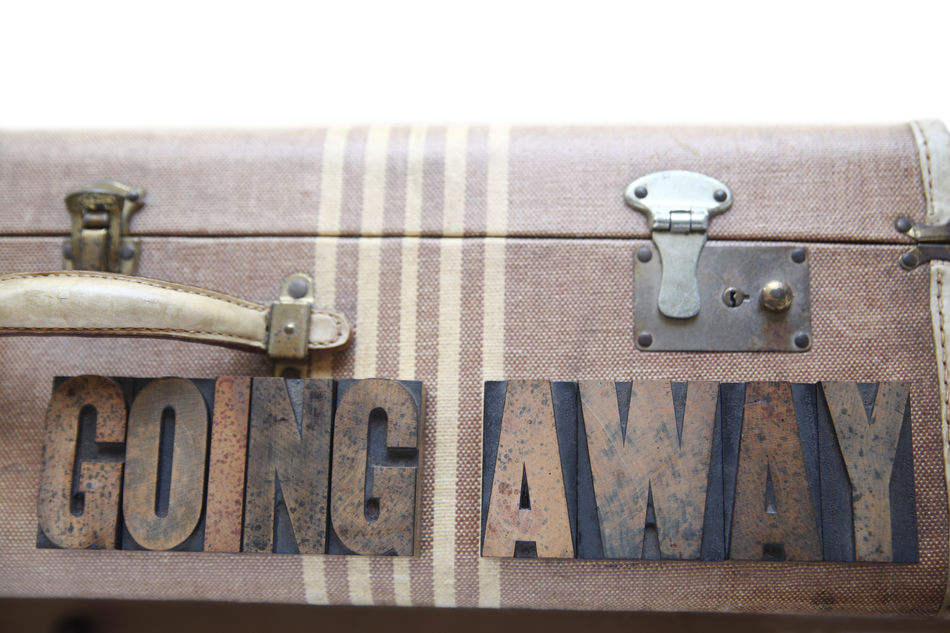 Vintage luggage with words going away Beige Tones Concept Departing Farewell Font Going Away Goodbye Leaving Letters Luggage No People Stripes Pattern Textures Travel Type Typeface  Typography Vintage Suitcase Well-used Wood Type Words Worn