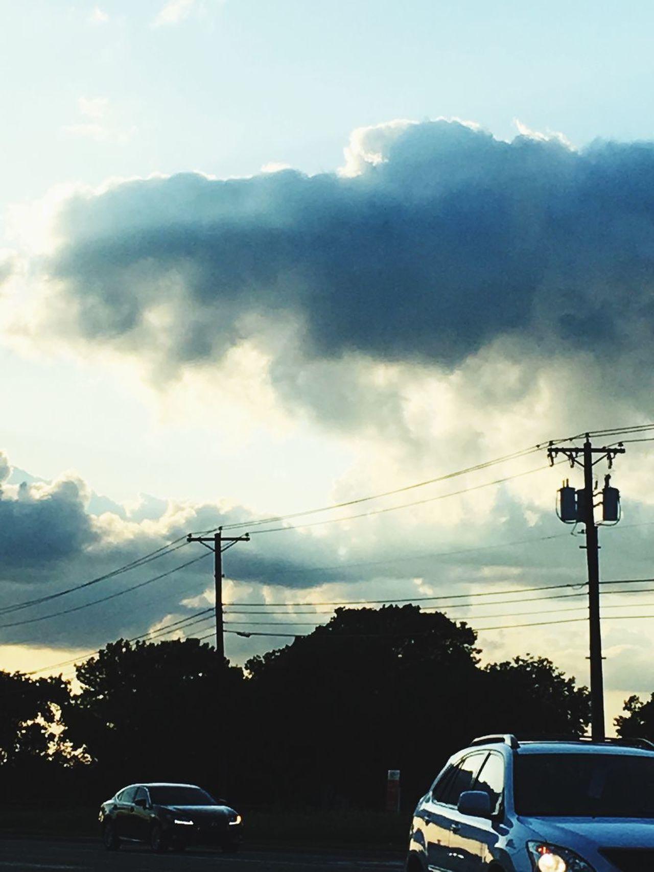 Cloud - Sky Sunset Sky Power Line  Car Transportation Electricity  Clouds And Sky Cloudscape Sunbeam