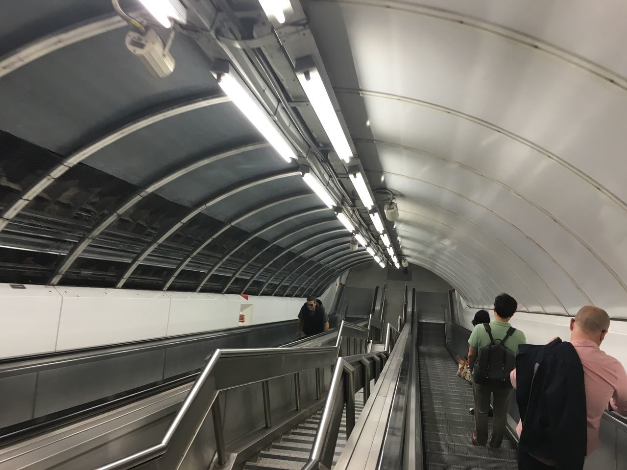 Going underground Underground Tube Tunnel People Escalators Lighting Stairs Stainless Steel  Transportation Transport Looking Down Stairs London Underground Perspective Leading Lines Arched Ceiling Metro Subway