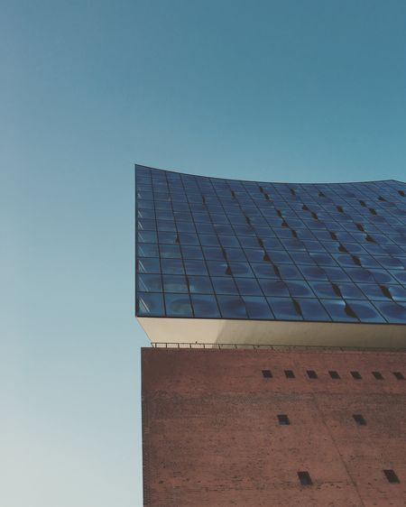 Hamburg Elbphilharmonie Hafencity Architecture Low Angle View Blue Clear Sky Point Of Interest Sehenswürdigkeit Warm Colors No People Modern Geometric Shape First Eyeem Photo Iphone6s Beautifully Organized