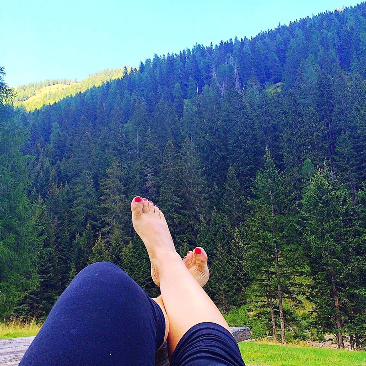 Chillaxing Feeling Thankful Tranquil Scene No People Personal Perspective Low Section Human Body Part Human Foot Human Leg Lifestyles Barefoot One Person Real People Women Leisure Activity Outdoors Day Tree Nail Polish People Nature Beauty In Nature Adult Sky Vejo