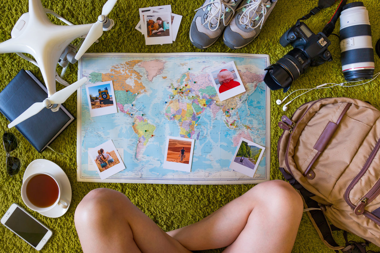 Camera Collection Day Drone  Human Body Part Indoors  Leisure Activity Map One Person People Photography Themes Real People Set Travel