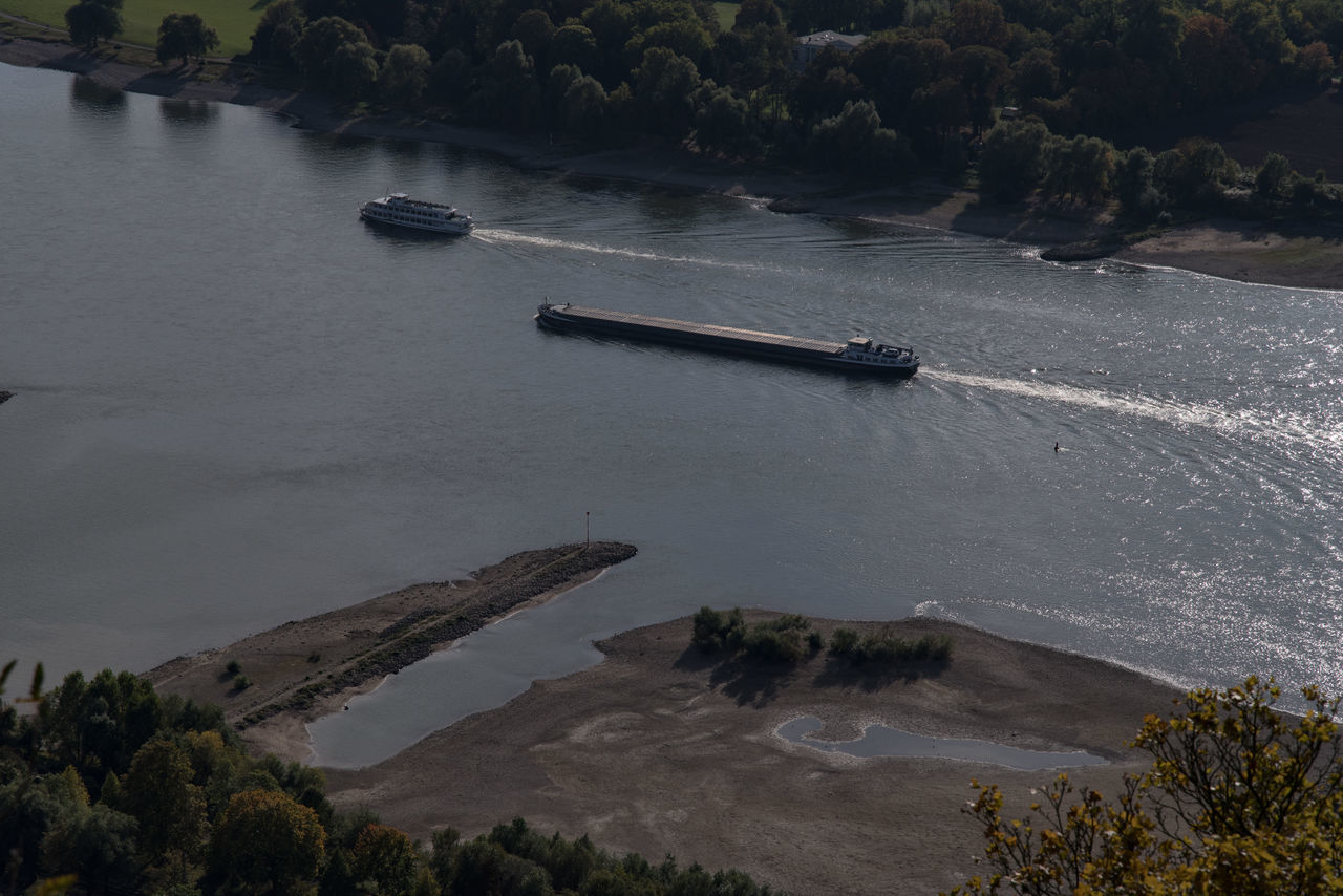 Rheinschifffahrt Day Distant Elevated View High Angle View Low Water Level Mode Of Transport Nature Nautical Vessel No People Non-urban Scene Outdoors Remote Rippled Water River Riverbank Scenics Solitude Tranquil Scene Tranquility Transportation Tree Water