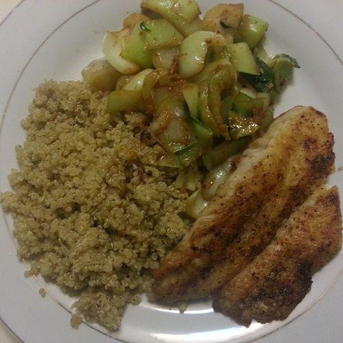 Dinner Quinoa StirFryBokChoy WhittingFillet nomu nomu masisseo-yo... foodPorn foodformystomach foodcomacomingup