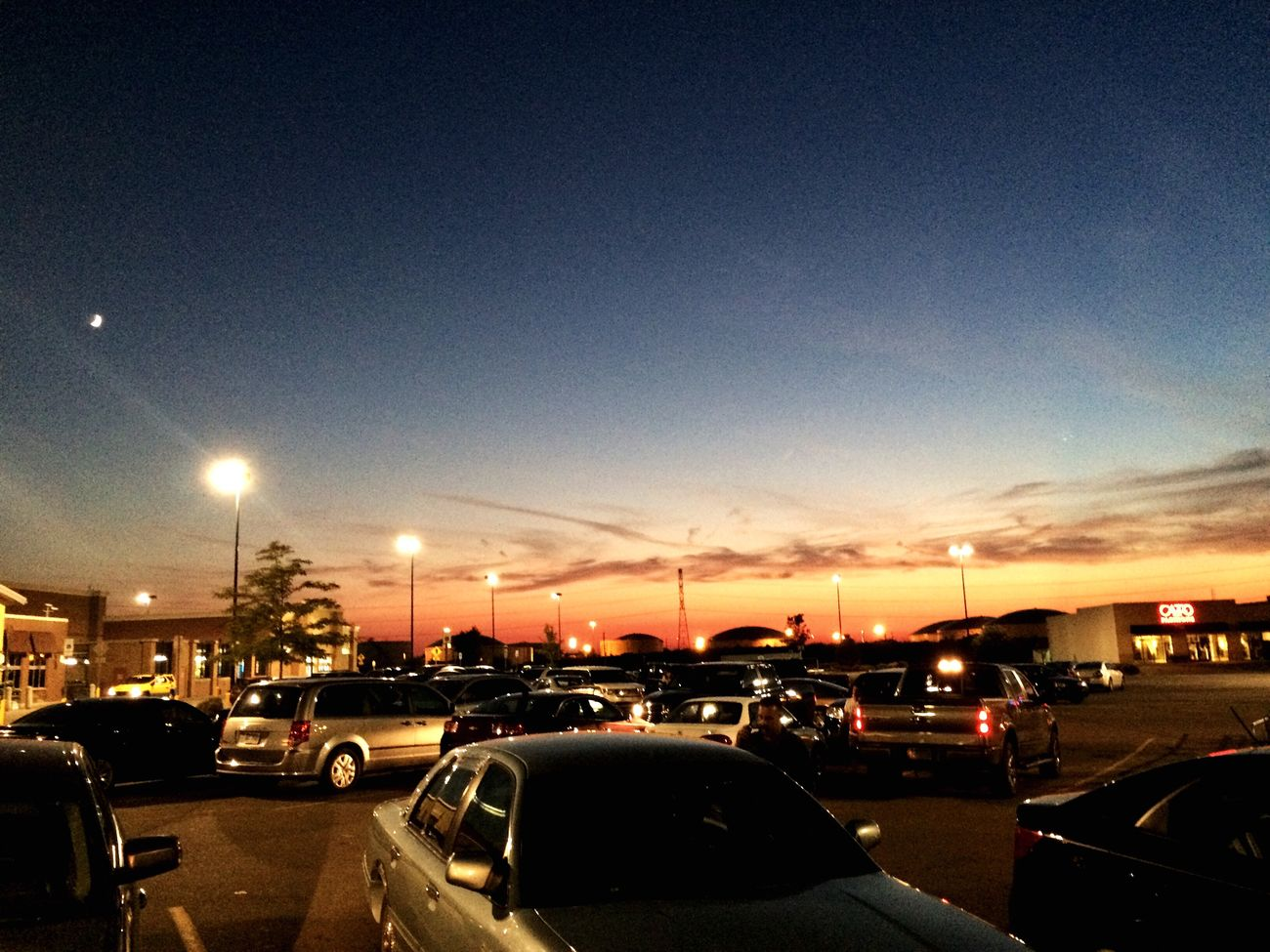 Walmart Parking Lot Sunset Orange Red Purple Blue Sky Cars Beautiful Evening