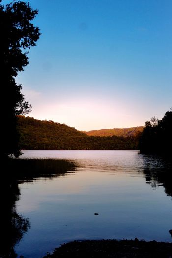 Lac de St cassien Lac Montauroux Tree Reflection Water Lake Nature Tranquil Scene Silhouette Sunset Beauty In Nature Tranquility No People Scenics Sky Outdoors Blue Clear Sky Day EyeEm Gallery EyeEmBestPics Freshness Eye4photography  Water Reflections Reflection