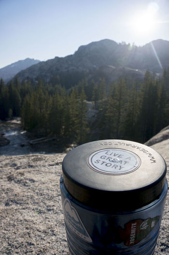 LIVE A GREAT STORY. Yosemite Yosemite National Park Bearcanister Beauty In Nature Close-up Day Food And Drink Lovebears Mammothlakes Mountain Nature No People Outdoors Pct2017 Tree