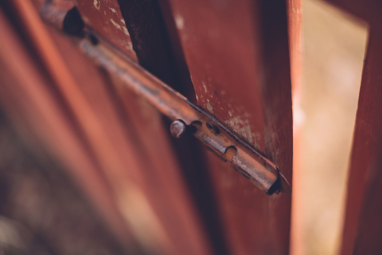 Angled Backyard Bolt Burgundy Close-up Day Fence Lock Looking Down No People Selective Focus Wood - Material