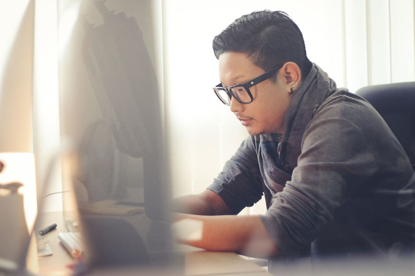 That's Me Bangkok Thailand 9togethers Ninetogethers Lonely Imac Thinking Working Work Officelife Office ASIA Asian  Men Menswear Men With Glasses Fasion