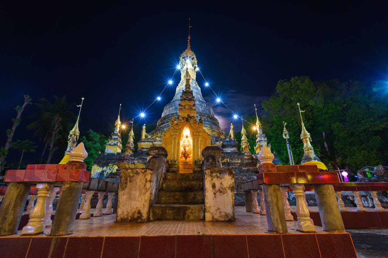 Beautiful pagoda Architecture Building Exterior Built Structure History Illuminated Low Angle View Night No People Outdoors Place Of Worship Religion Sky Spirituality Statue Tourism Travel Travel Destinations