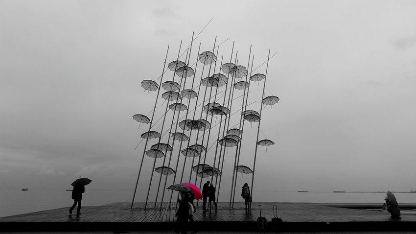 Walking Around Cityscapes City Life Rainy Days Umbrellas Umbrellas In The Sky Monochrome Pink Umbrella Landscape_photography OpenEdit Nostalgic Landscape Spring Coming Soon Thessaloniki Greece Thessaloniki Port  Beautiful View Art In The City The Week On EyeEm