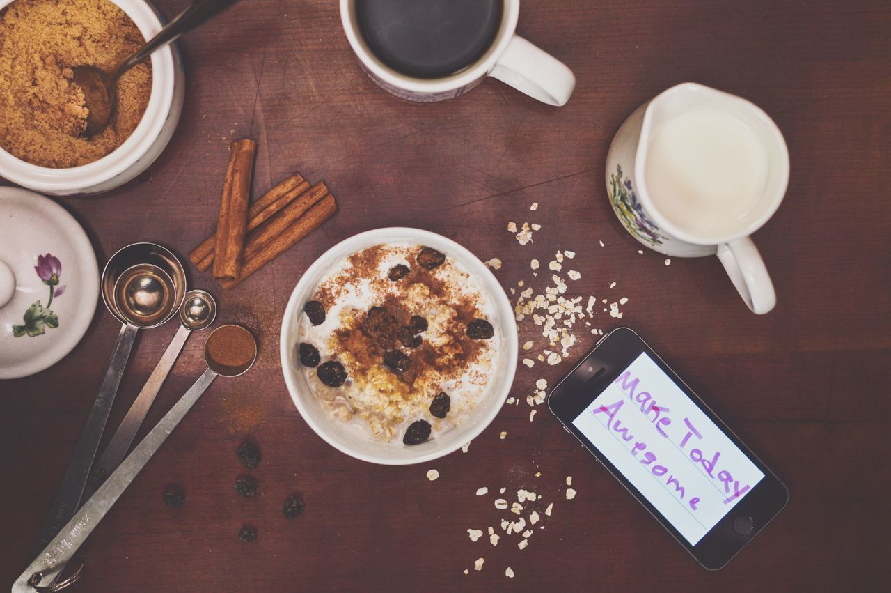 Make today awesome. Phone Mobile Phone Oatmeal Directly Above Coffee - Drink Breakfast Food And Drink Coffee Cup Freshness Spoon Fork Food Table Ready-to-eat Indoors  Plate Drink No People Sweet Food Oatmeal Flatlays Flat Lay Flatlay Raisin Oatmeal