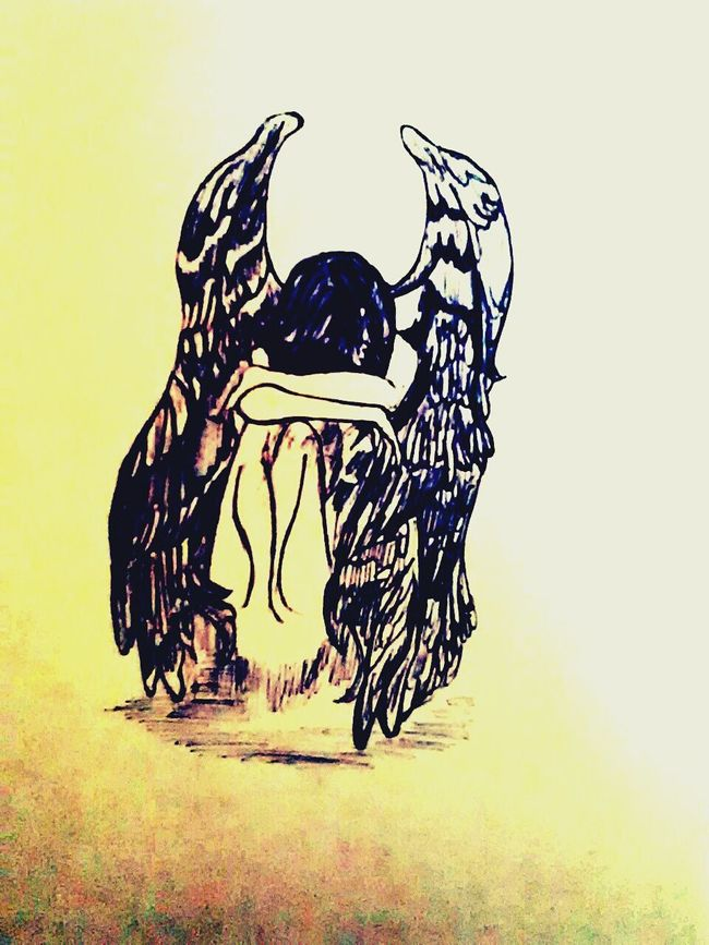 Drowning, Girl, Sad, wings, life <3 Notokay Sad & Lonely Drawing Editdraw