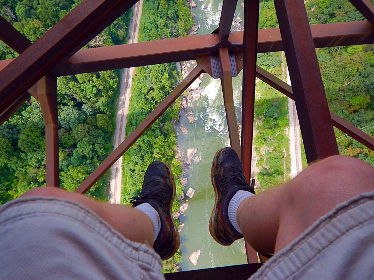 There's nothing like a relaxing afternoon sitting on an 1/8 inch piece of sheet metal 876 feet above the river below lol. West Virginia Adventure Bridge Way Too High Yikes!