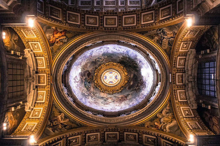 Rome No People Architecture Built Structure City Indoors  Religion Dome Day Vatican VaticanCity Gold Colored Spirituality Travel Destinations Place Of Worship Architecture Stpeterbasilica ArtWork Art