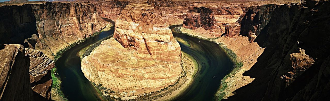 Horseshoe Bend - Page - AZ - Dramatic Angles The Week On EyeEem Close-up The Past Ancient History Day Tranquility Ancient Civilization Weathered Rocky Geology Physical Geography Scenics Horseshoe Bend Arizona Arizona Landscape Panorama Panoramic Photography Panoramic Panoramic Landscape Panoramic View