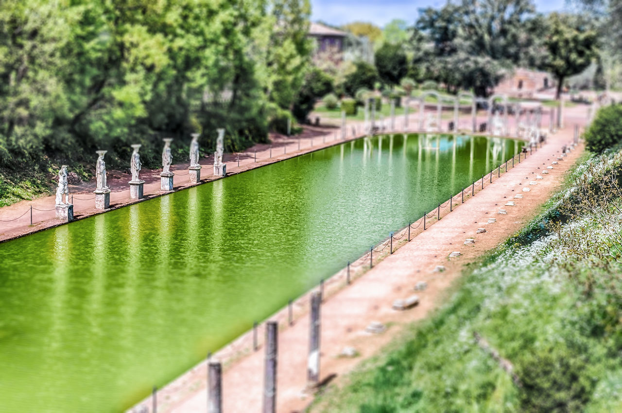 Aerial view of Villa Adriana, Tivoli, Italy. Tilt-shift effect applied Bridge - Man Made Structure Built Structure City Day Nature No People Outdoors River Tree Water