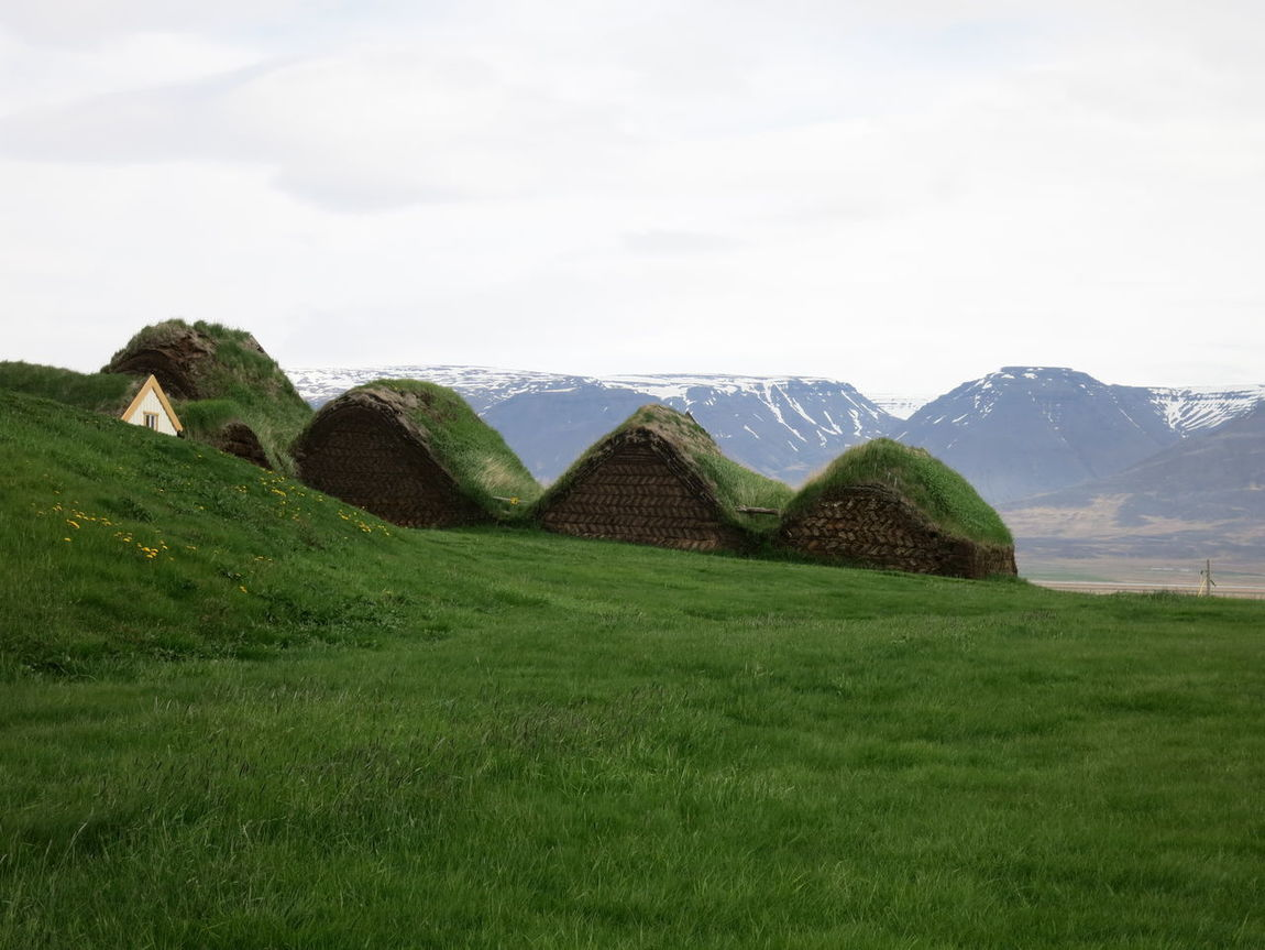 Glaumbaer Turf Houses Architecture Building Exterior Grass Roof Houses Idyllic Lawn Mountain Range Turf Houses