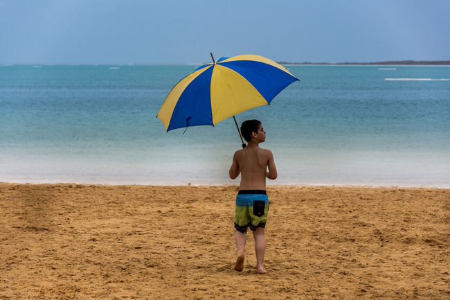 under my umbrella in DeadSea Beach Beauty In Nature Blue Casual Clothing Color Palette Colour Of Life Deadsea EyeEm Team Full Length Horizon Over Water Idyllic Leisure Activity Lifestyles Nature Outdoors Remote Scenics Sea Shore Tranquil Scene Tranquility Umbrella Vacations Pivotal Ideas
