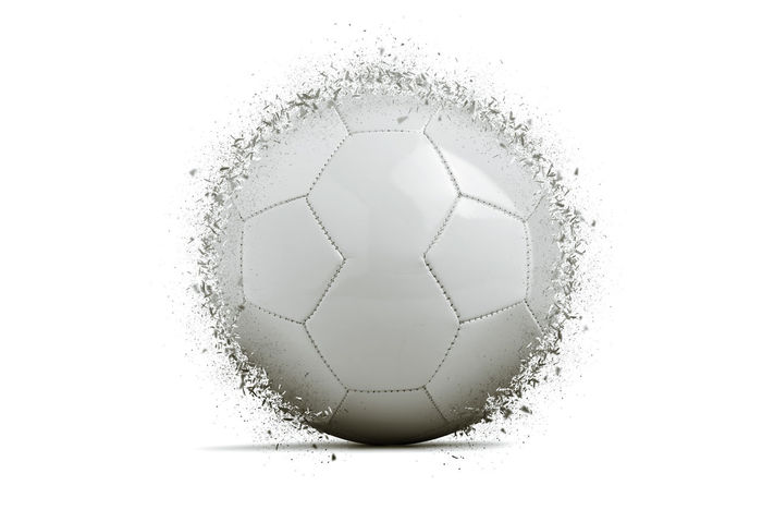 soccer ball exploding on gradient background Ball Broken Glass Close-up Day Dissolving Exploding Football Indoors  No People Shattered Shattered Dreams Soccer Studio Shot White Background