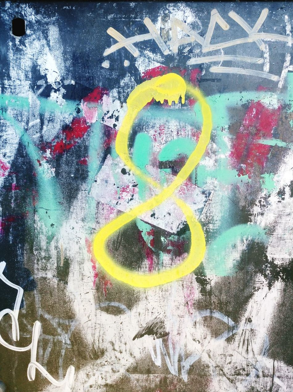 8 Multi Colored Outdoors No People Spray Paint Close-up Textures And Surfaces Colour Image Numbers And Signs Texture And Surfaces Aerosol Graffiti Urbanphotography Dirtyoldtown Urbanexploration Graffiti Wall Street Photography Textured  Backgrounds Eight Number Handwritten Yellow Degradation Paint Drips