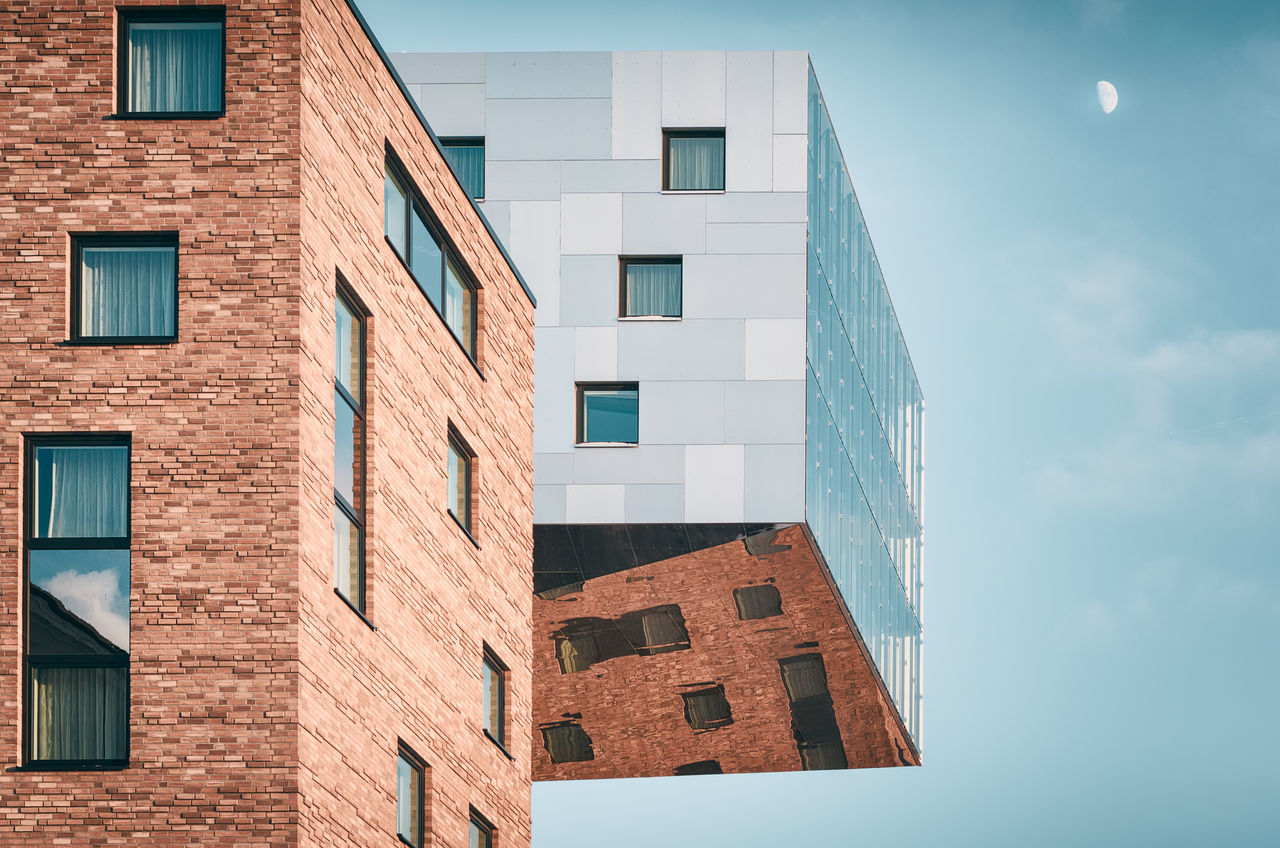 Modern Architecture | Berlin, Germany 2016 Architecture Berlin Berlin Buildings Blue Building Exterior Built Structure City City Life Cloud - Sky Copy Space Day Façade Germany Low Angle View Modern Architecture Moon Moon In The Sky No People Nobody Office Building Reflection Repetition Sky Sunny Window