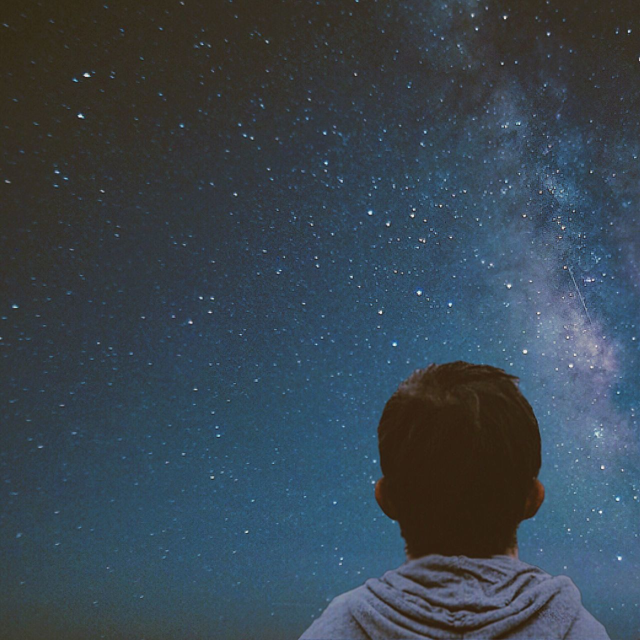 Star - Space Astronomy Night Sky Rear View Galaxy Milky Way Space And Astronomy One Person Space Scenics Constellation Beauty In Nature Star Field Real People Nature Outdoors People Young Adult Adult