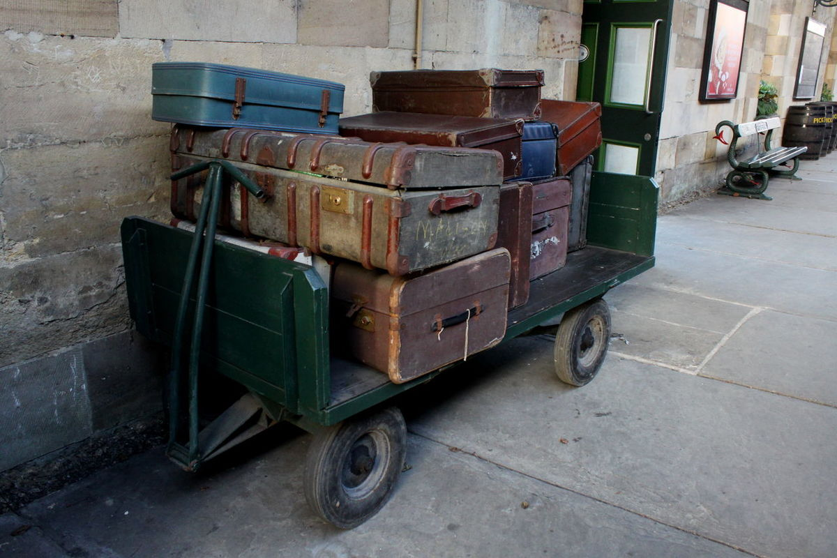 Cases Day Luggage Luggage Cart  Multi Colored No People Nymr Outdoors Pickering Station Platform Push Cart Suitcase Transportation Travel