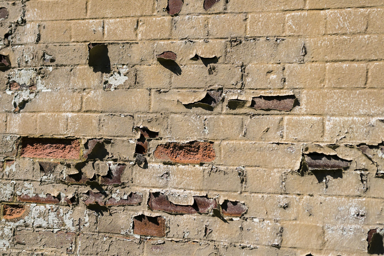 Full Frame Shot Of Abandoned Brick Wall